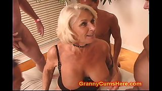 Granny gets a Group Ravage and Cum Bath