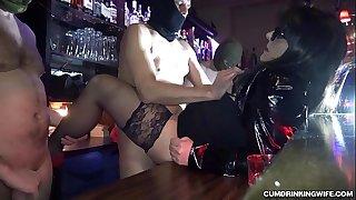 Slutwife gangbanged by over 20 guys at a bar
