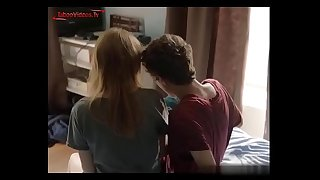 Mature stepmother masturbates young stepson