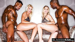 BLACKEDRAW Two Blondes Fuck Two Authoritative BBCs After A Night At The Club