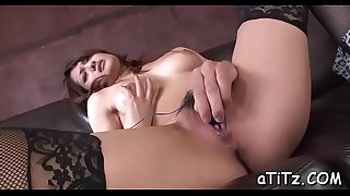 Asian playgirl with nice tits toys and plays with her hairy twat