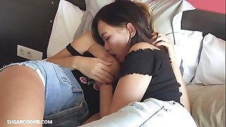 Hot lesbian Mary Kalisy having joy with Asian teen